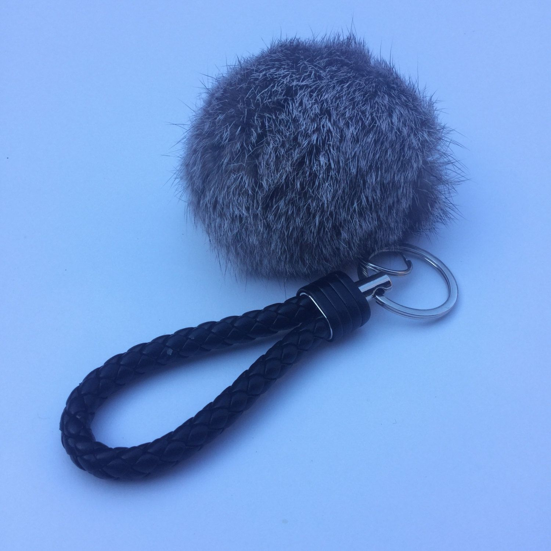 Car keychain fur pom pom puff ball bag rabbit key chain charm silver hardware braided handle by YogaStudio55 on Etsy