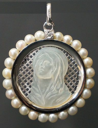 Rare solid 18k white gold pearl diamond virgin mary pendant ebay rare solid 18k white gold pearl diamond virgin mary pendant ebay aloadofball Image collections