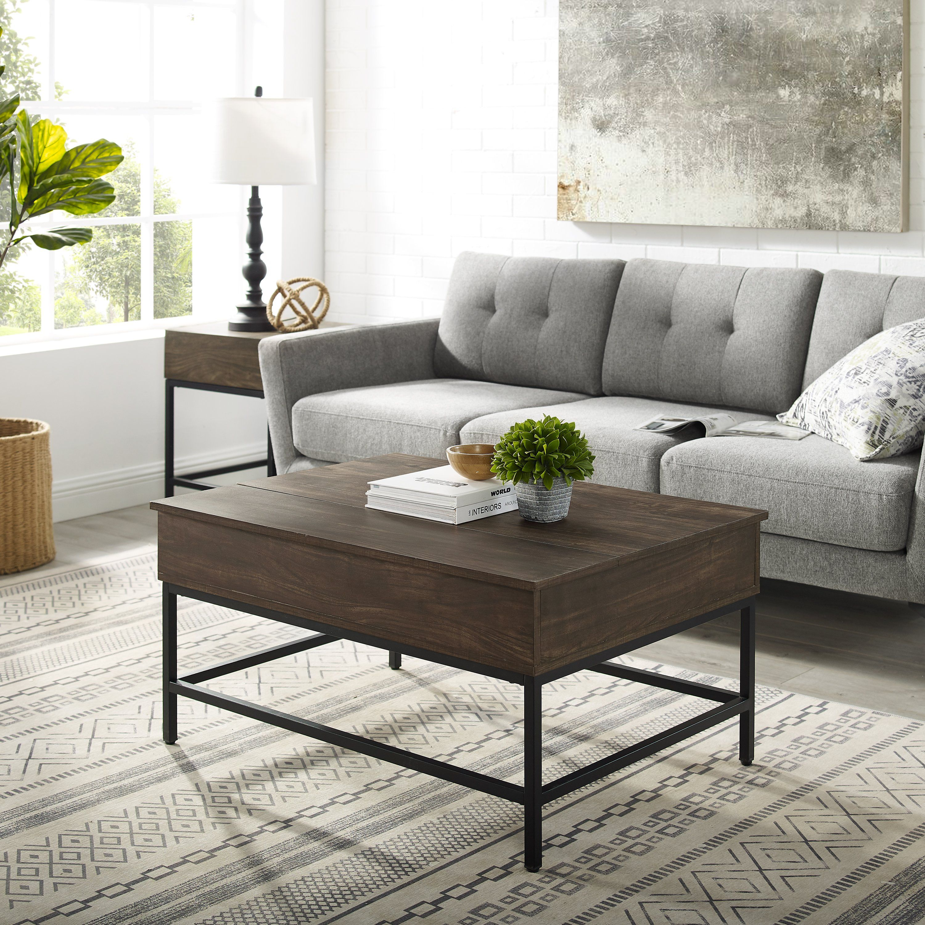 Brown And Matte Black Lift Top Storage Coffee Table Jacobsen Rc Willey Furniture Store In 2021 Coffee Table Coffee Table With Storage Furniture [ 3000 x 3000 Pixel ]