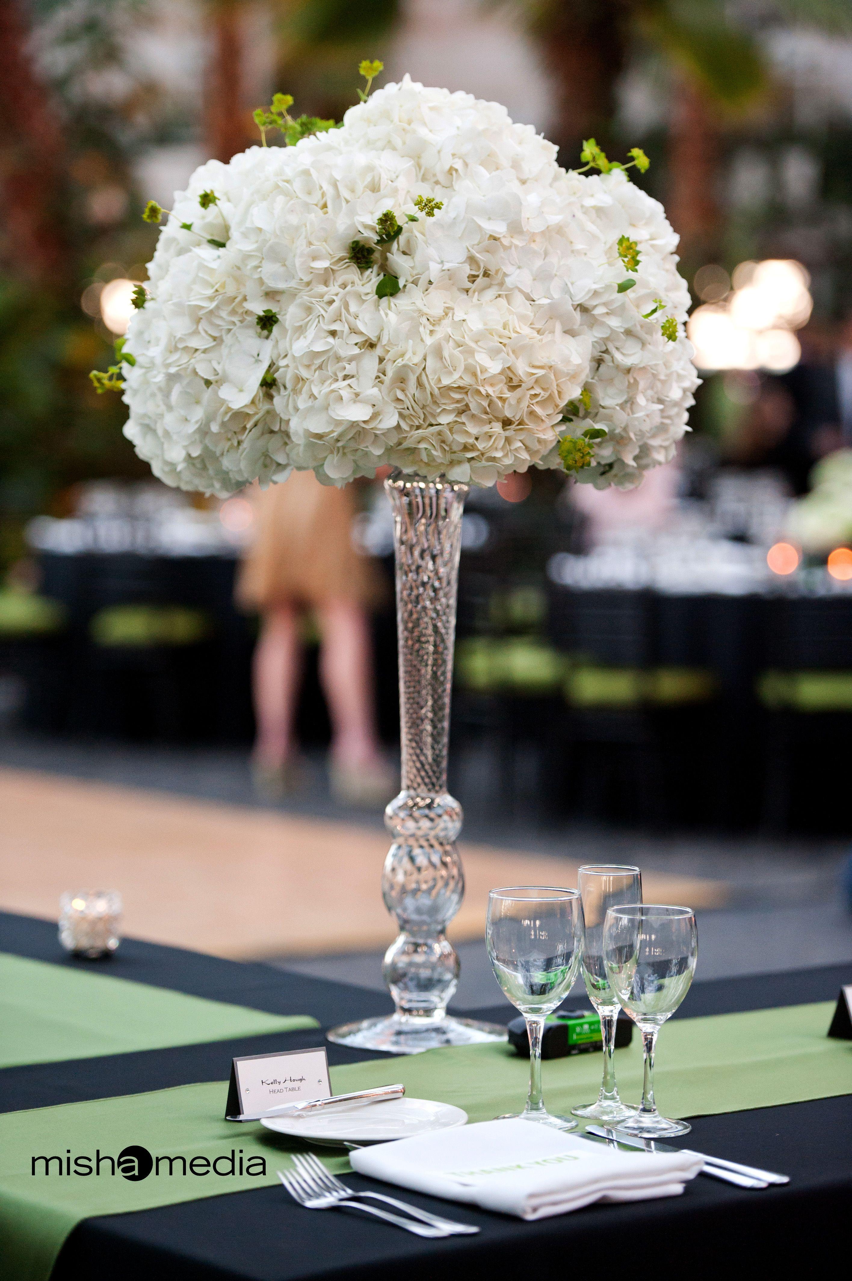 Tall hydrangea wedding centerpieces arrangement of