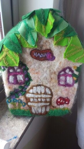 Wool felted music box fairy house