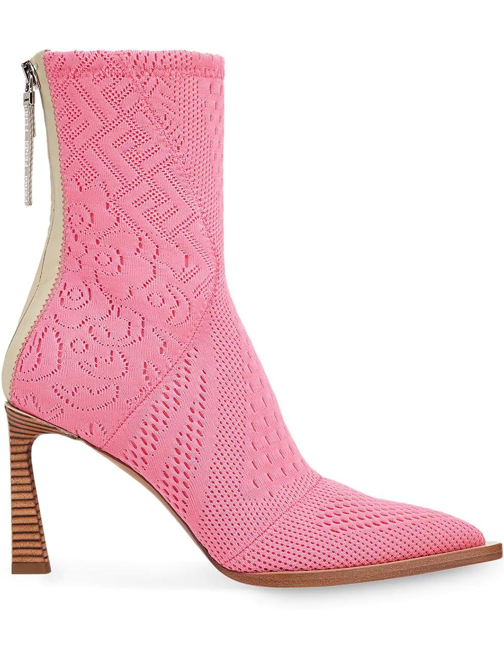 Fendi FFrame Jacquard Ankle Boots