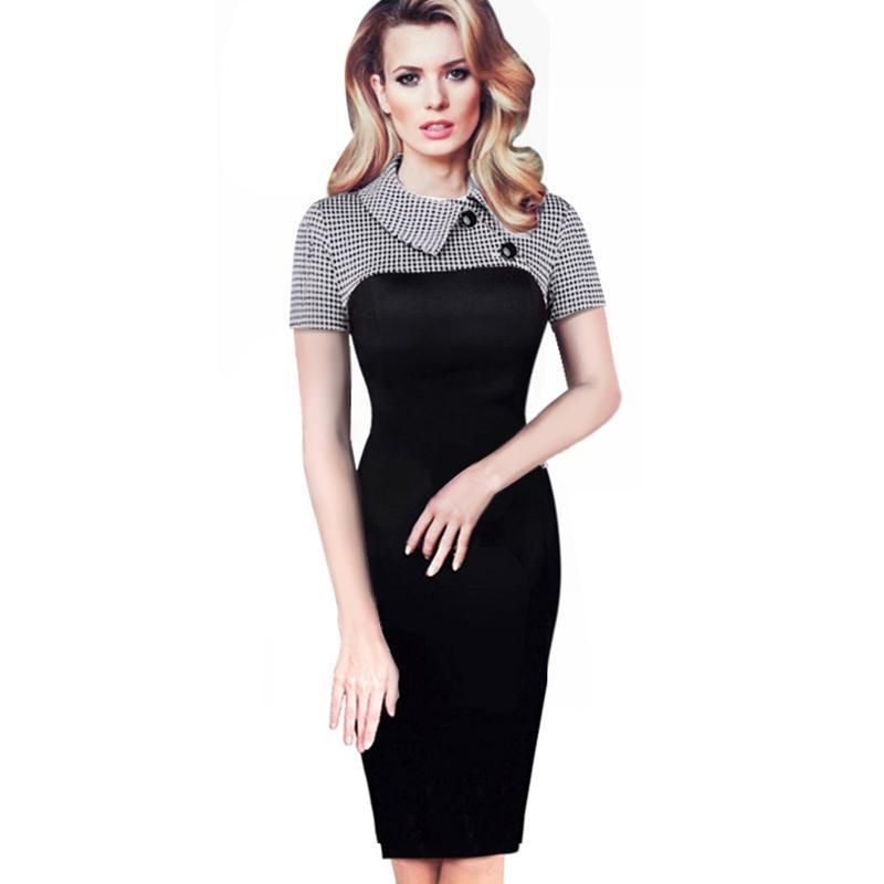 Vintage Long Sleeve Plaid Pattern Bodycon Dress Plus