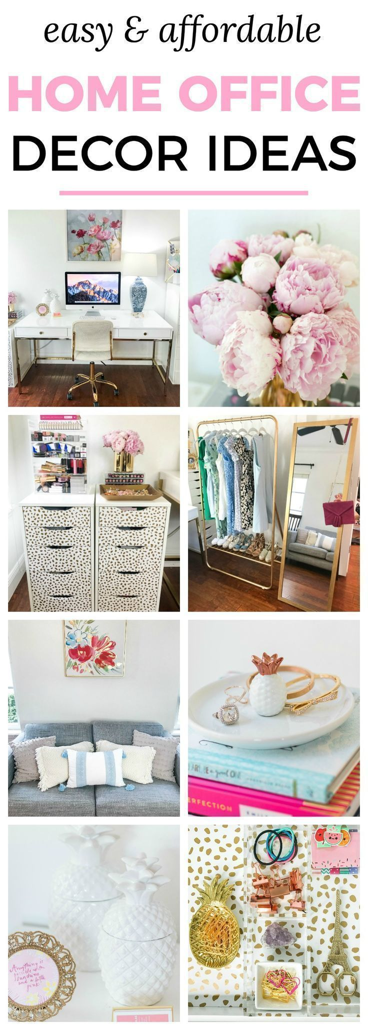 Easy & affordable home office decor ideas | Cute blogger home office ...
