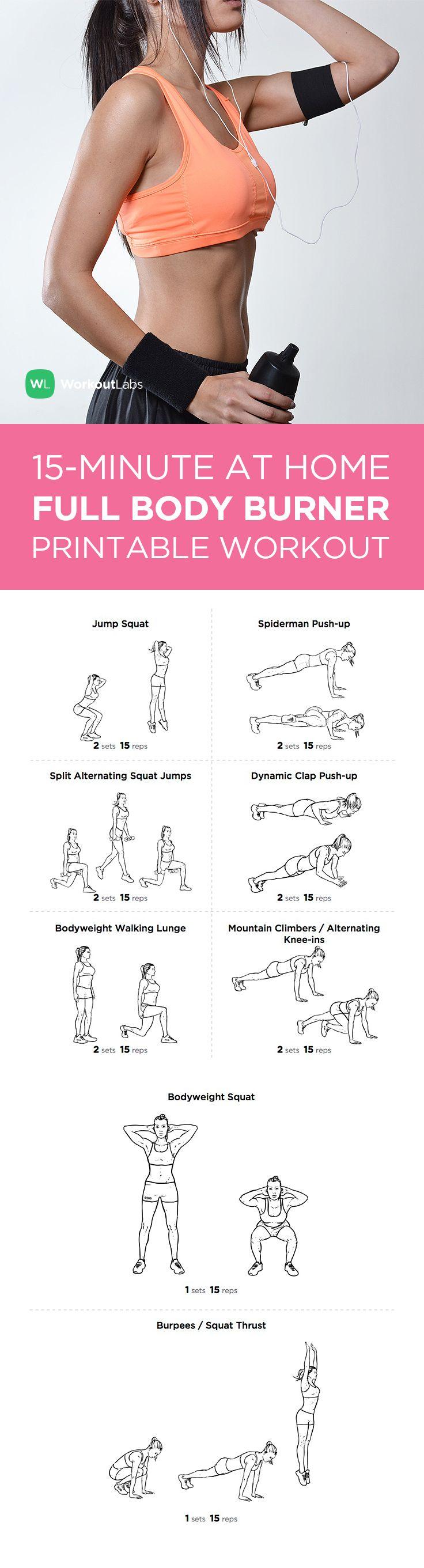 15 Minute Full Body Burner At Home Workout For Men Women