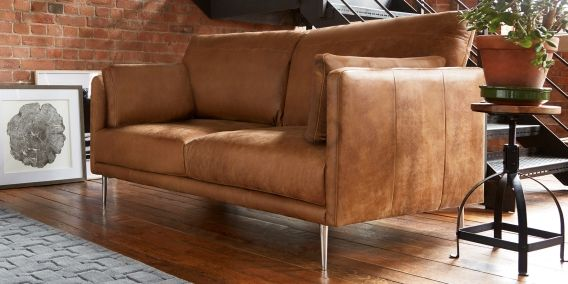 Parker Leather Large Sofa 3 Seats Antiqued Light Tan From The