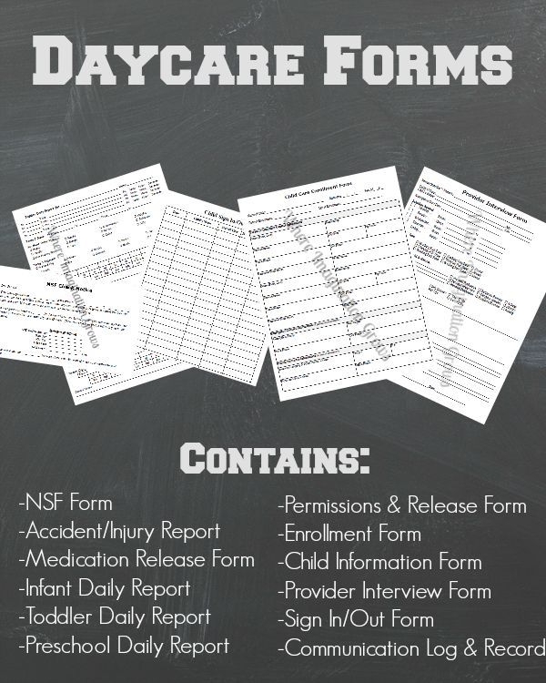 Daycare Forms \ Records Pack Daycare forms, Daycare ideas and - printable release form