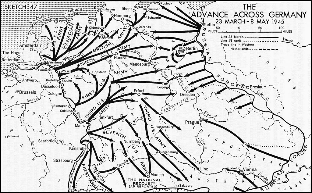 The Victory Campaign The Operations In NorthWest Europe - Germany map 1945