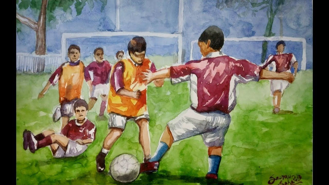 Figurative Composition In Watercolor Football Players Bfa Exam