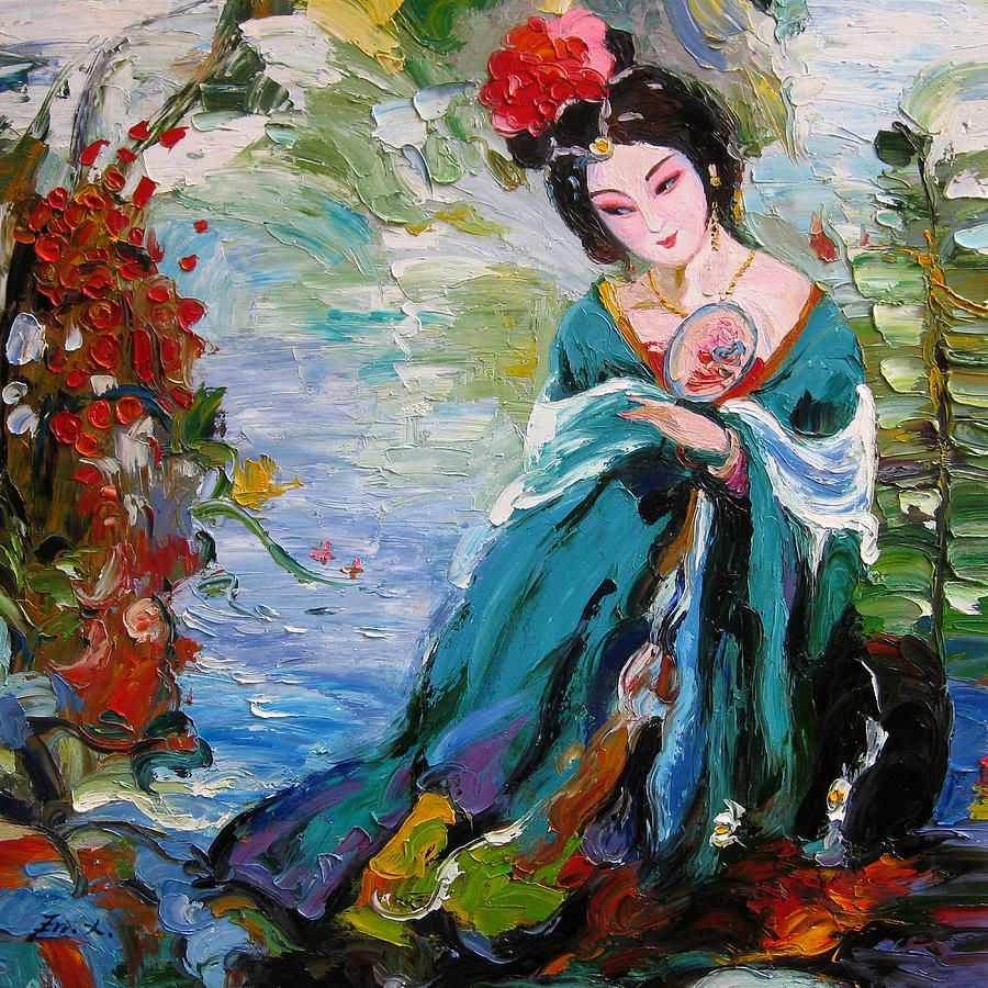palette knife oil painting a woman of Chinese opera   Palette knife