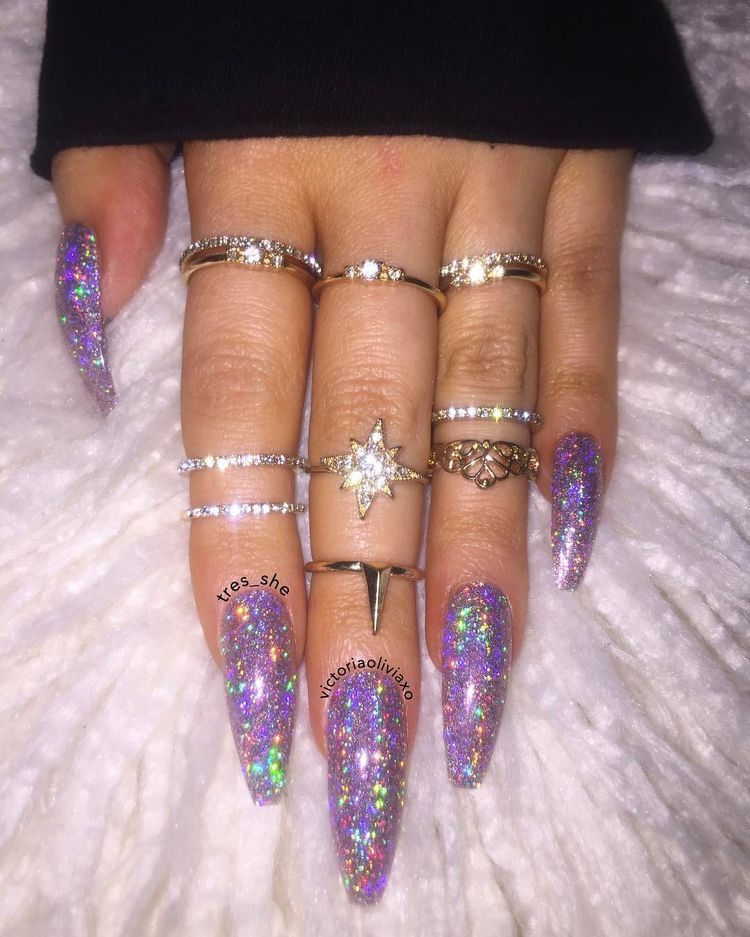 long glitter nails gorgeous nail