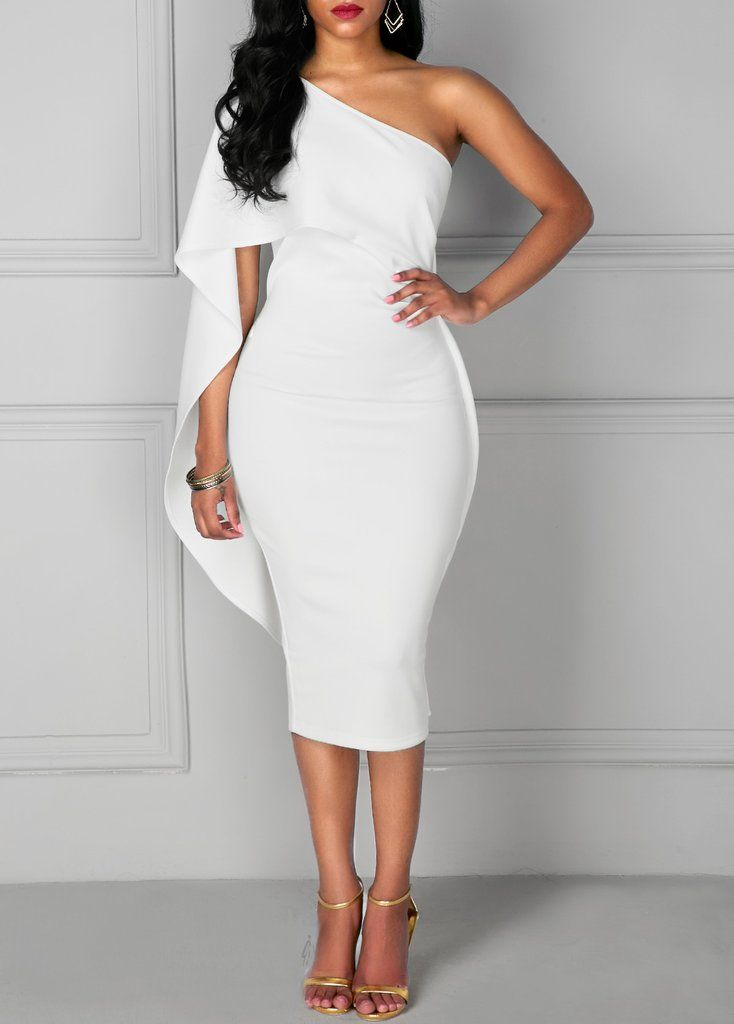 Batwing Sleeve Knee Length White One Shoulder Dress ( More Colors ...