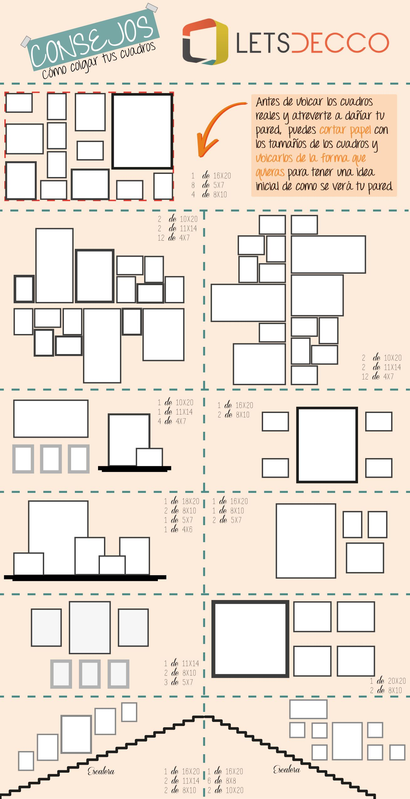 infografia de la ubicacion de cuadros en casa | Wall Decor ...