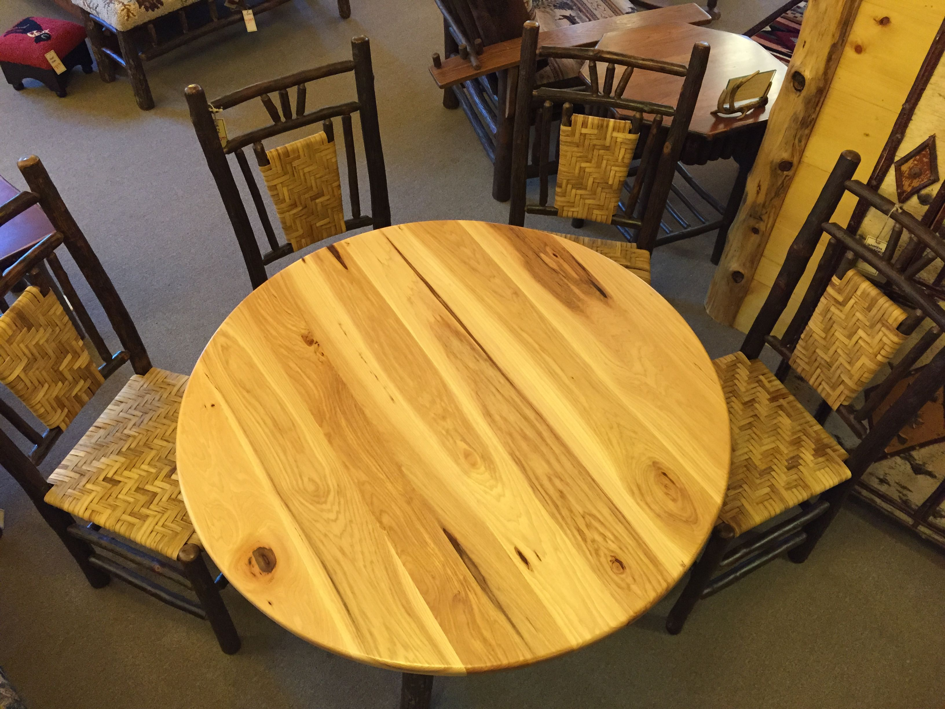 All Hickory Dining Table And Hickory Chairs With Woven Details Ohmrf Familyowned Rusticfurniture Handmade Rustic Dining Set Rustic Furniture Hickory Chair