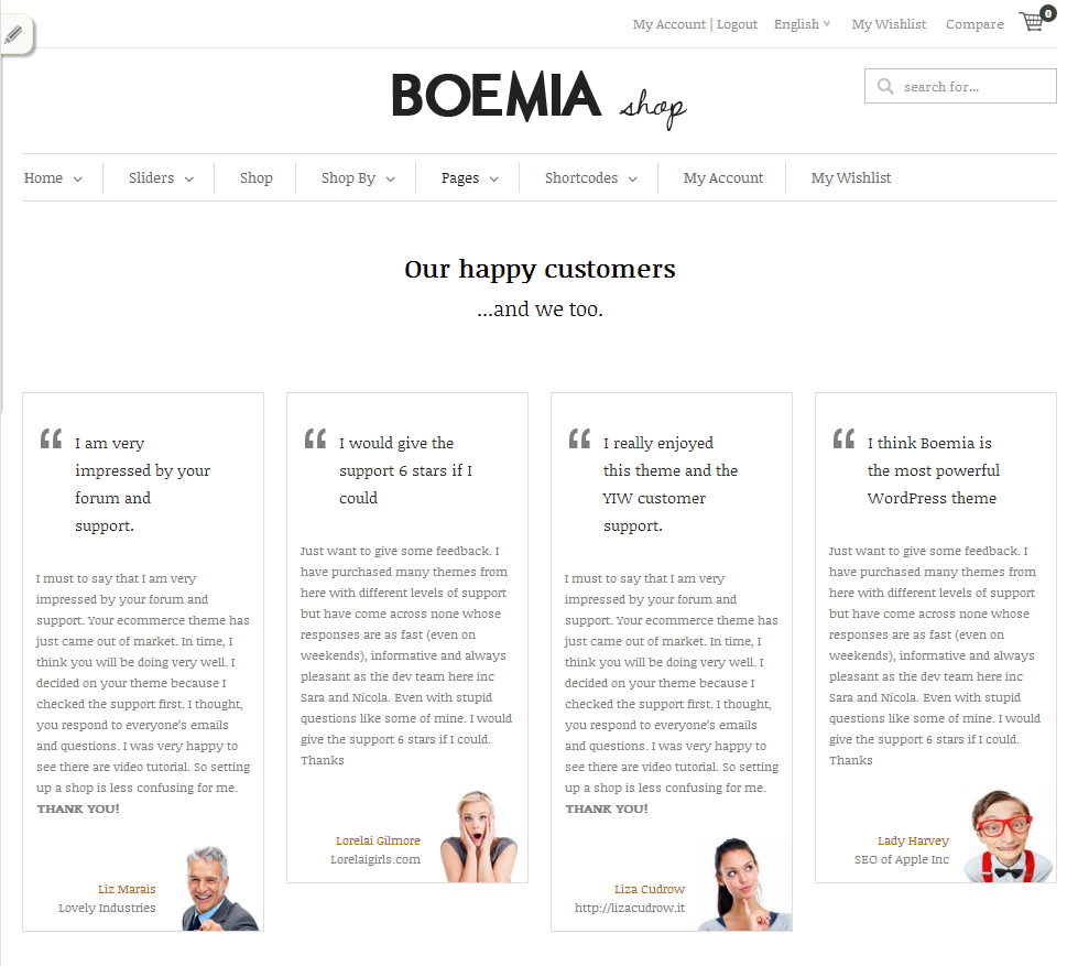 Client Testimonial Examples: The Best Responsive WordPress Ecommerce Theme