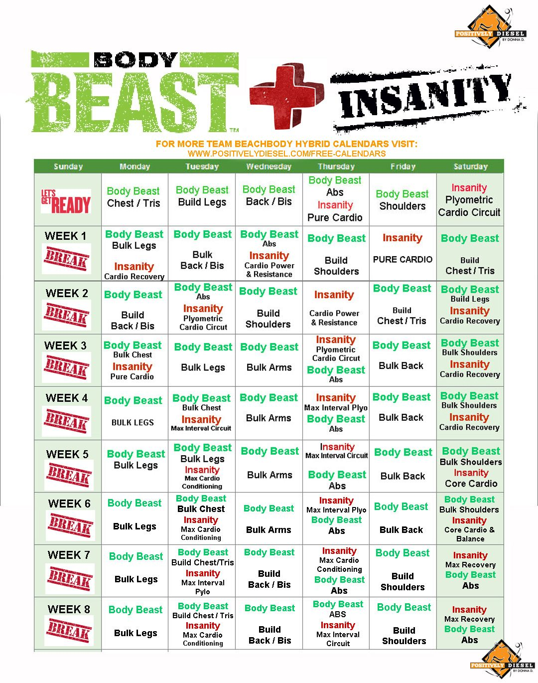 30 Day Body Beast and Insanity Hybrid Workout