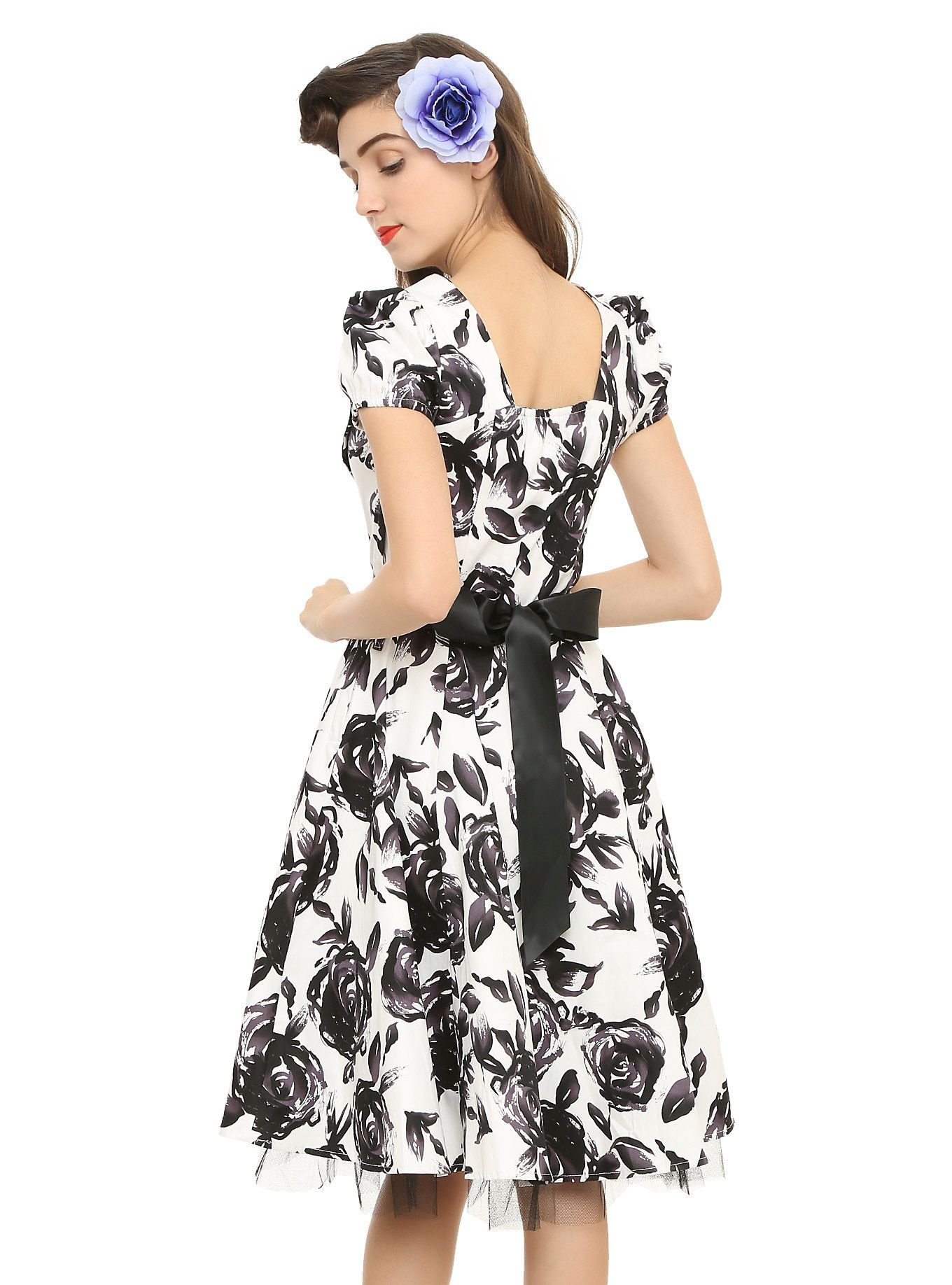 Black & White Floral Dress,
