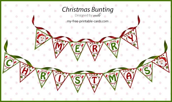 Free Printable Christmas Bunting in 6 different sayings My life as