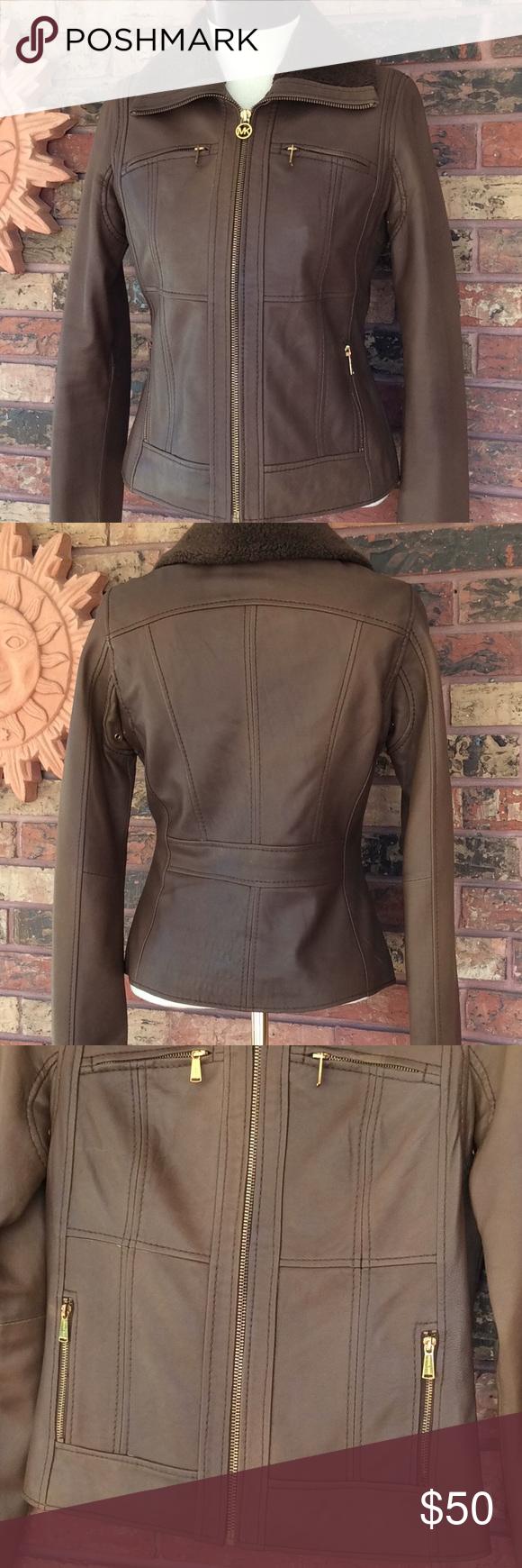 Michael Kors Leather Bomber Jacket S Brown Sherpa Leather Bomber Jacket Leather Bomber Brown Leather Jacket [ 1740 x 580 Pixel ]