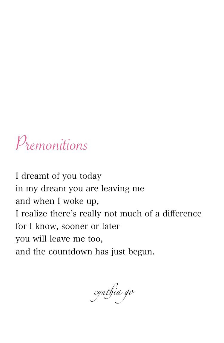 Poetry Love Quotes Premonitions  Poem Relationships And Life Happens