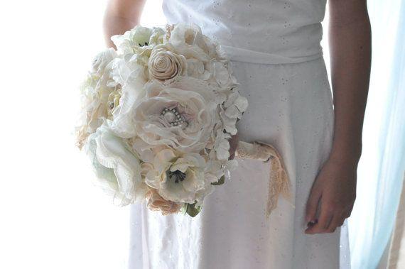handmade wedding bouquet paper flowers fabric by AlternativeBlooms, $268.00