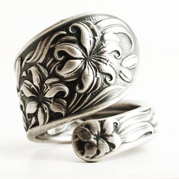 Spectacular Silver Tiger Lily Ring Sterling Silver Spoon Ring Floral Art