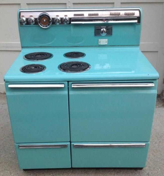 Vintage Electric Stoves And Ovens ~ Rare vintage aqua color calrod ge electric range