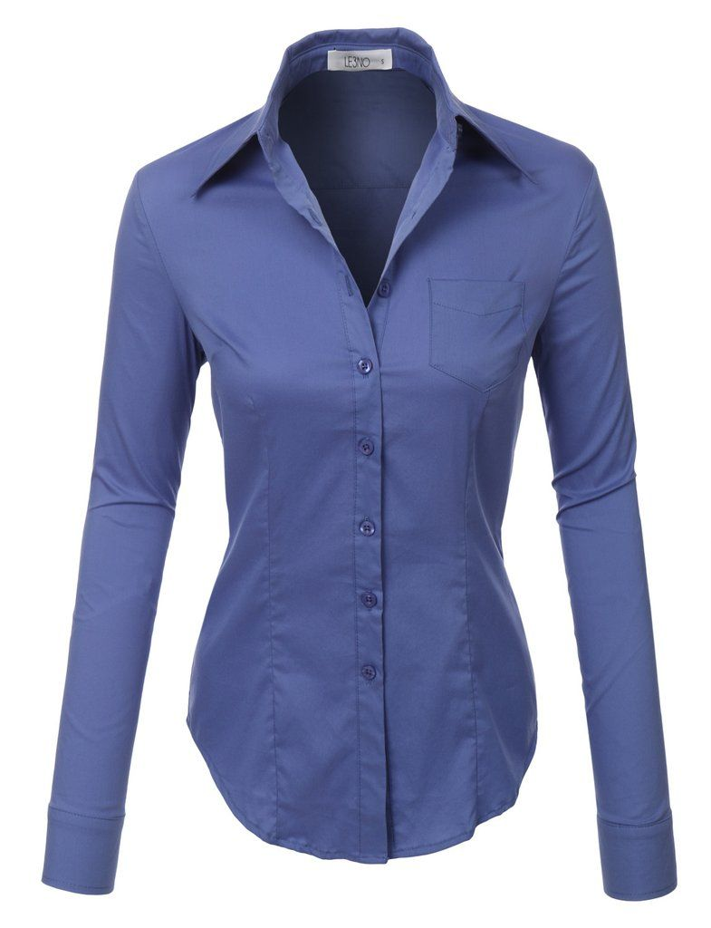 826e03b62 LE3NO Womens Lightweight Button Down V Neck Shirt with Stretch ...