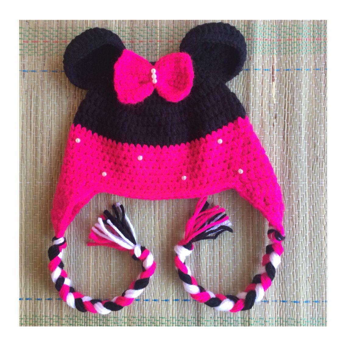 Touca de crochê Minnie com tapa orelha  58ff85d91b5