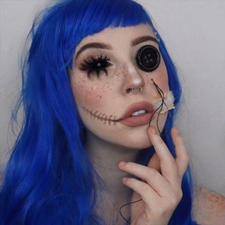 Creepy Cool Halloween Make Up Coraline Inspired Leelee Blackmore On Instagram Col Halloween Makeup Scary Coraline Halloween Costume Daughter Halloween Costumes