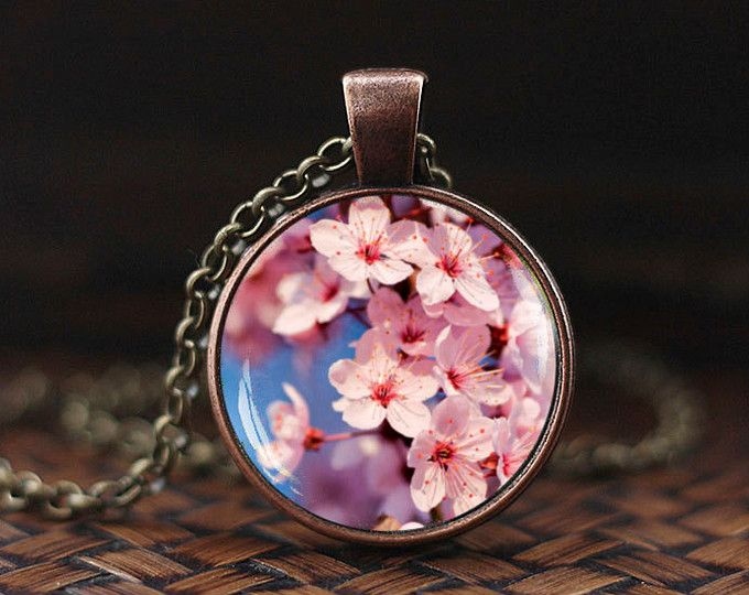 Sakura blossom Necklace, Cherry Blossom Pendant, Cherry Blossom Jewelry, Spring Flower Jewelry, Pink cherry bloom pendant