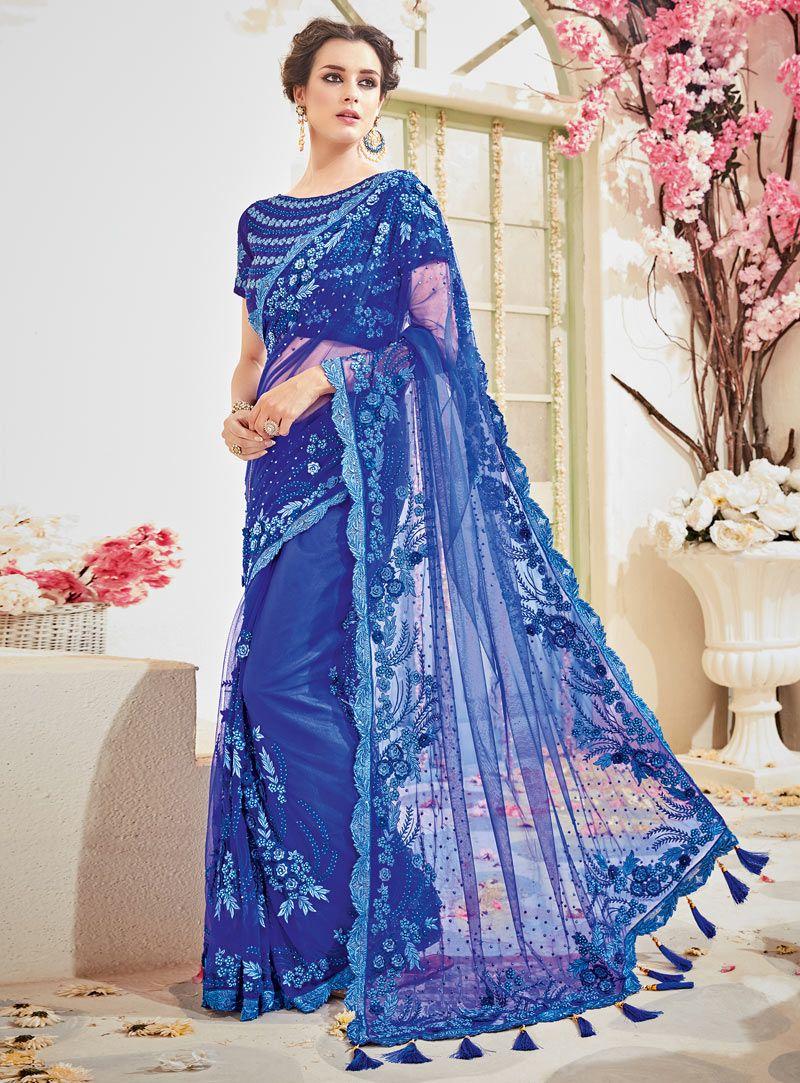 2133534e84 Royal Blue Net Party Wear Saree 105119   Net Saree   Saree wedding ...