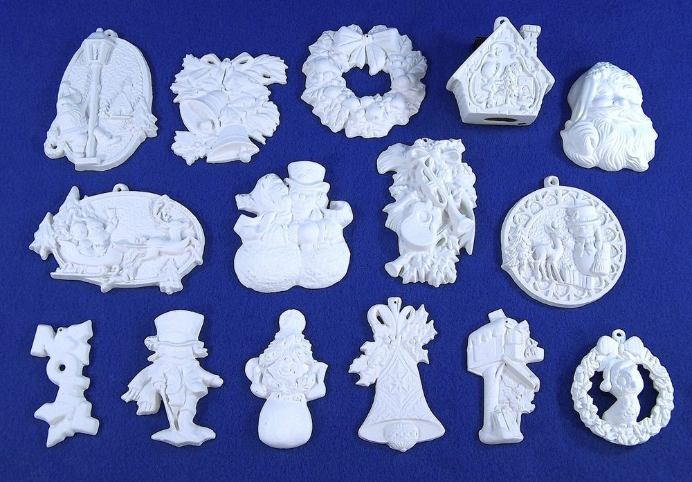 Lot of 15 Different Paintable Ceramic Bisque Christmas Ornaments Ready to  Paint #Unbranded - Lot Of 15 Different Paintable Ceramic Bisque Christmas Ornaments
