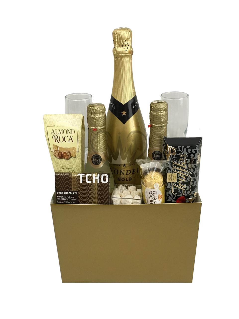 Gold Wedding Basket Gold wedding basket, Champagne gift