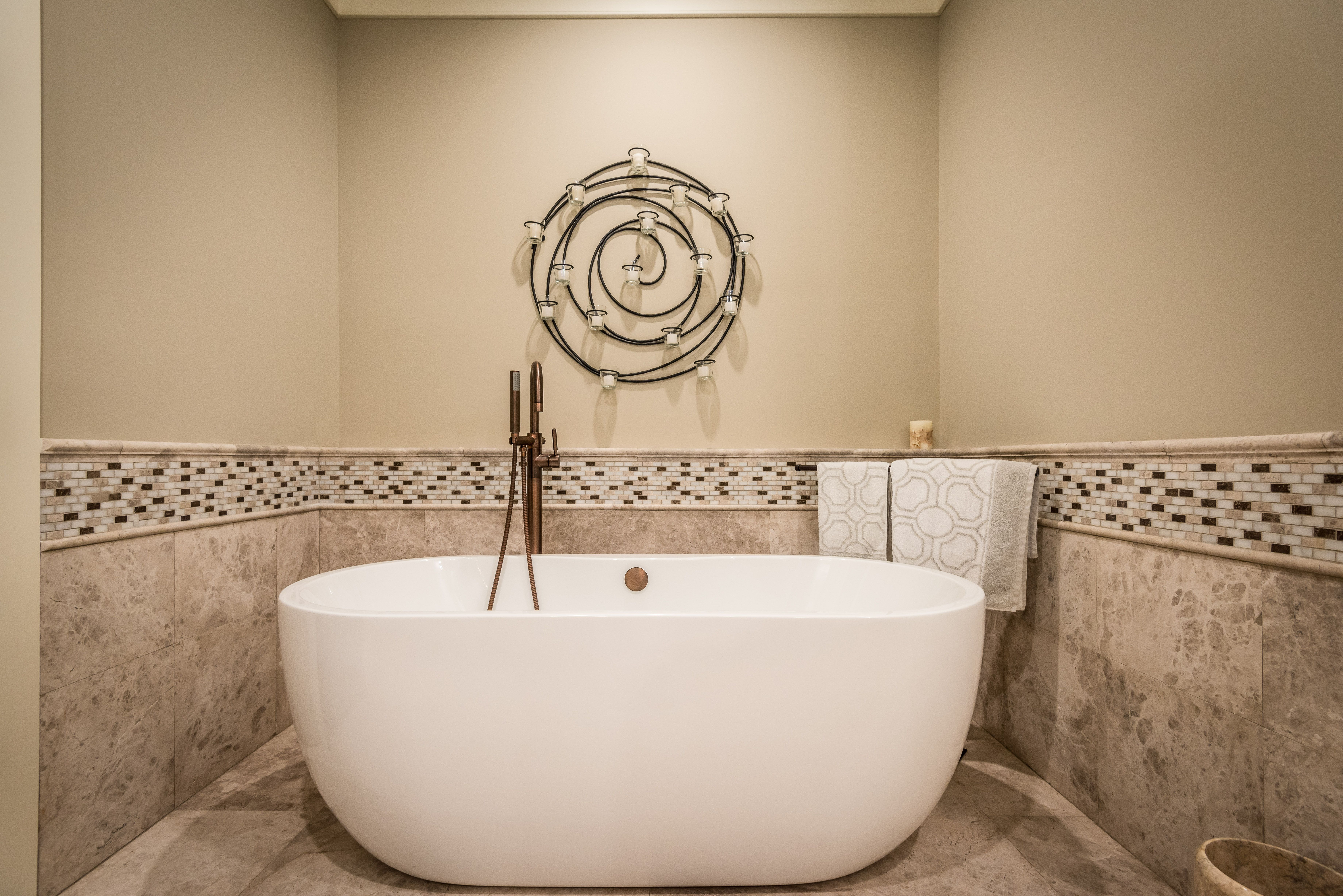 Love The Freestanding Tub Designed For This Alcove Space And Lots Of Relaxation Time The Alcove Wainscoting Is Porcelain Countertops Chair Rail Granite Tile What is an alcove tub
