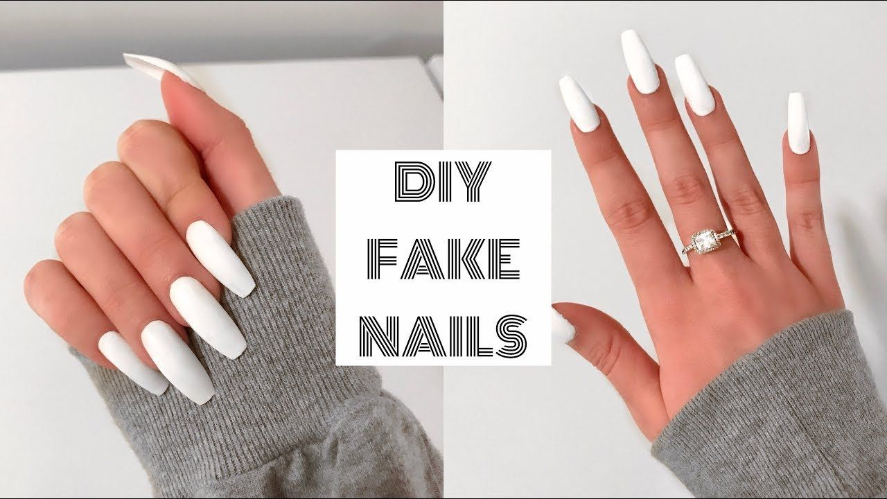 HOW TO DO FAKE NAILS AT HOME FOR BEGINNERS! | Acrylic Nails Under ...