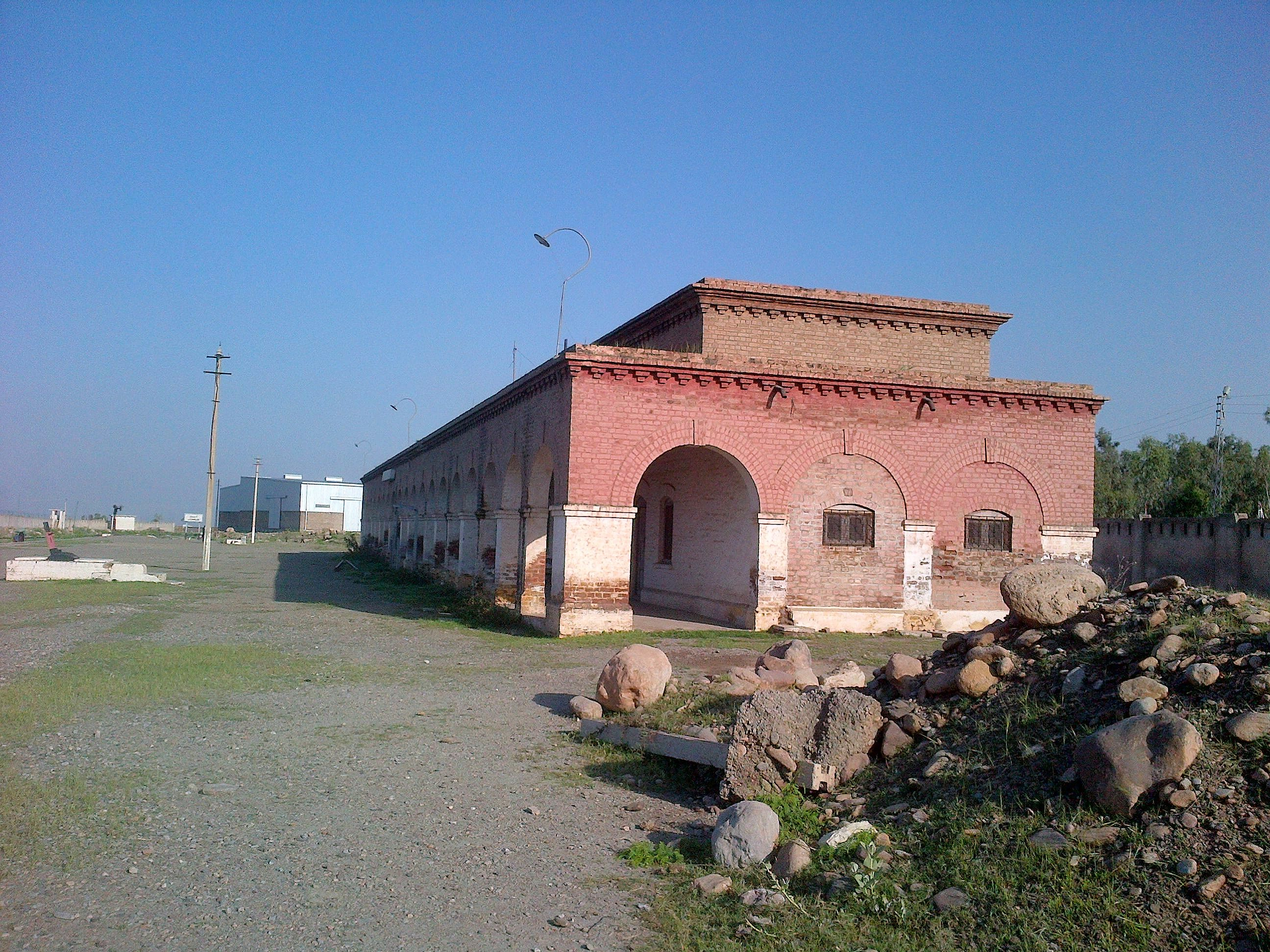 The red brick building of Jamrud Railway Station. Birtish era construction dating back to late 19th century.
