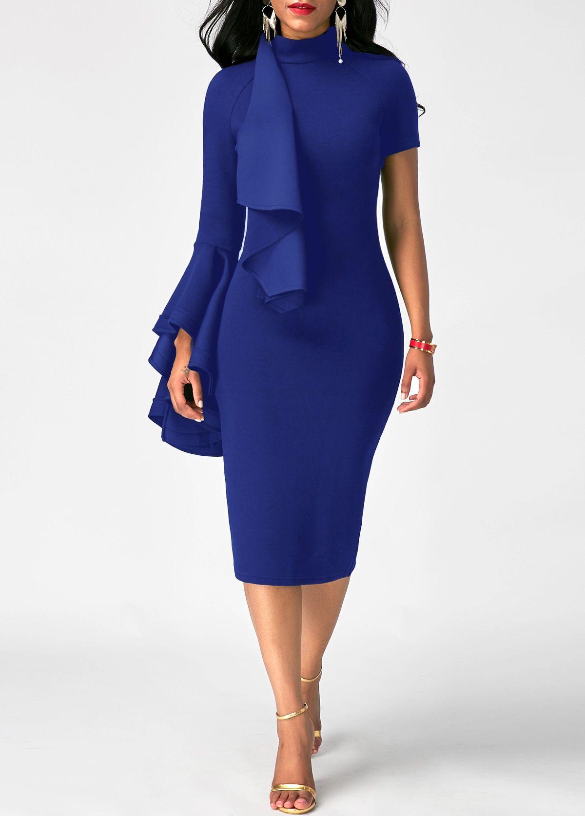 Zipper back high neck flouncing sheath dress on sale only us