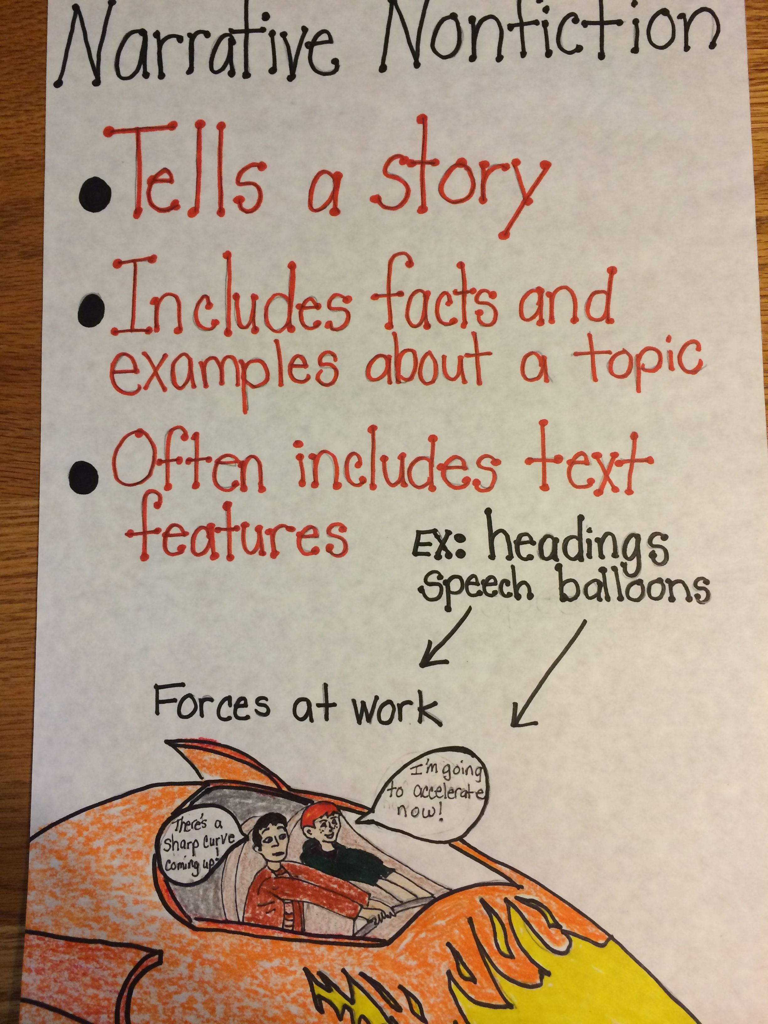 Narrative Nonfiction Anchor Chart   school   Pinterest   Anchor     Narrative Nonfiction Anchor Chart