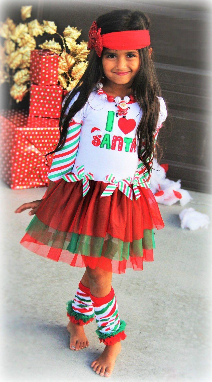 Baby Toddler Girl's I Love Santa Ruffles & Bows Holiday