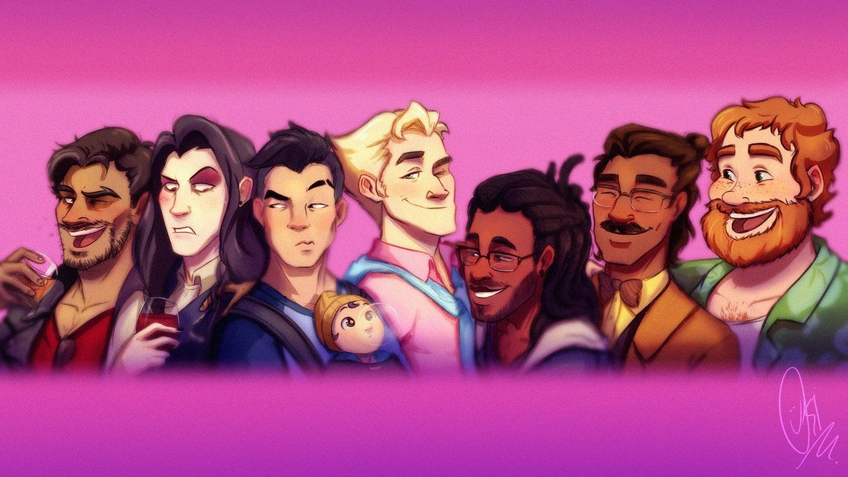 Dream Daddy: A Dad Hookup Simulator Characters Cartoon