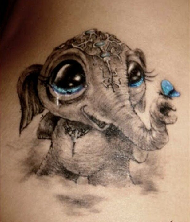 cba254659b0b2 Cute Asian Baby Elephant With Flying Butterfly Tattoo Design ...