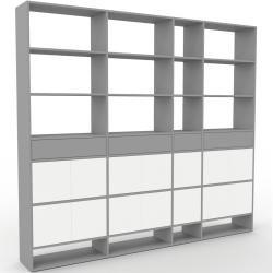 Photo of Wohnwand Grau – Individuelle Designer-Regalwand: Schubladen in Grau & Türen in Weiß – Hochwertige Ma