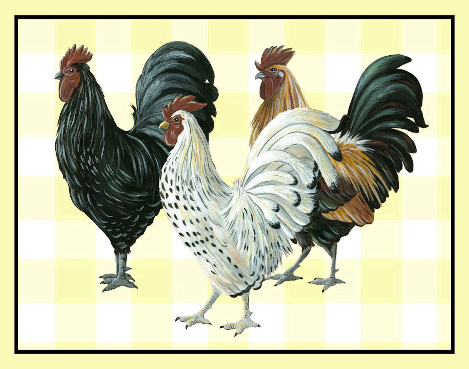 Roosters Out For A Stroll Yellow Check Background Kitchen Decor Rooster Art Country En 8x10 Print 15 00 Via Etsy