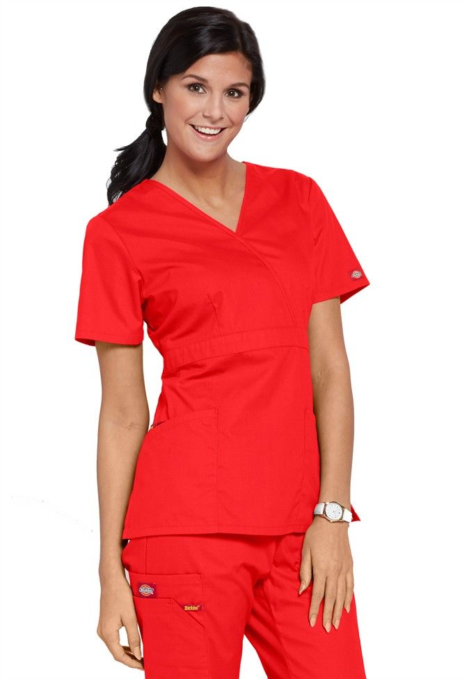 d65fef3451f Dickies EDS signature missy fit mock wrap scrub top in Red | Scrubs and  Beyond