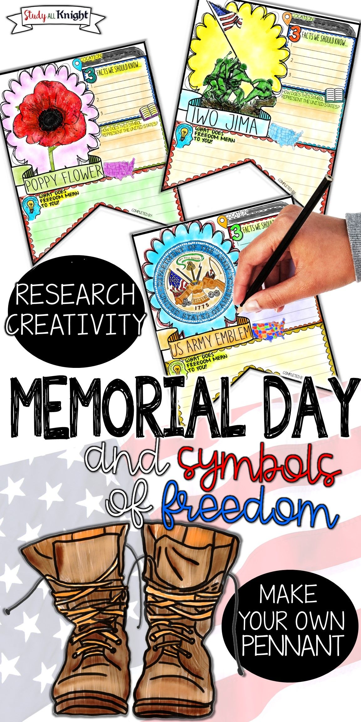 Memorial Day Symbols Of Freedom Research Pennant Make Your Own