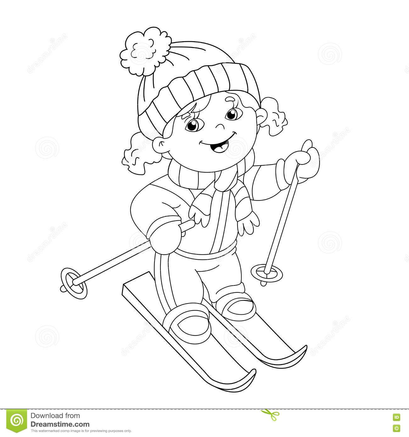 coloring page outline cartoon girl riding skis winter sports book kids 1300 1390. Black Bedroom Furniture Sets. Home Design Ideas