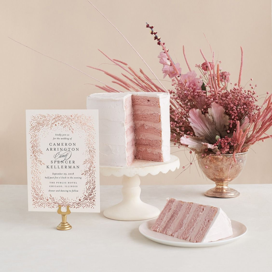 Pink And Rose Gold Wedding Theme With Matching Cake Stationery By Kristie Kern