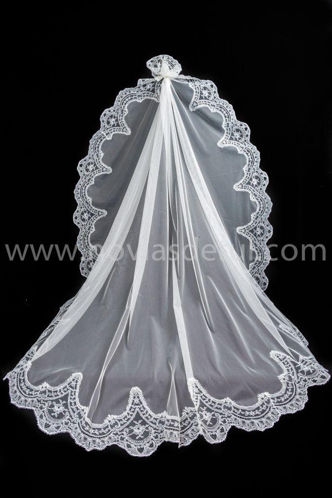 20bac7398c Velo en tul de seda con encaje de gran tamaño y calidad