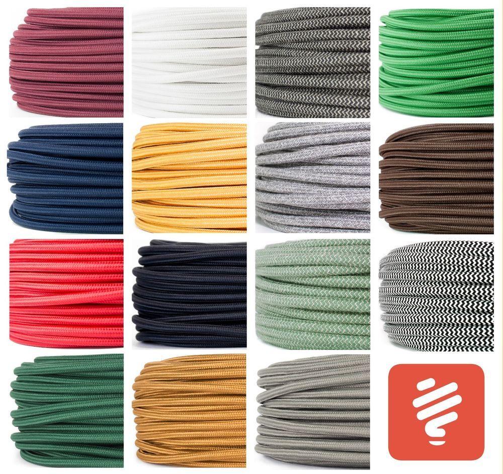 Textilkabel Fur Lampe Stoffkabel Elektrokabel Stromkabel Lampenkabel 3 Adrig Ebay Textilkabel Stromkabel Textilkabel Lampe